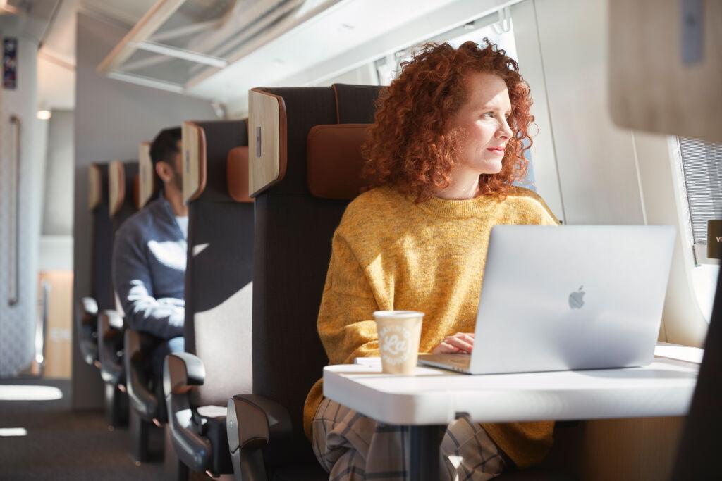 Työmatkustaja junassa