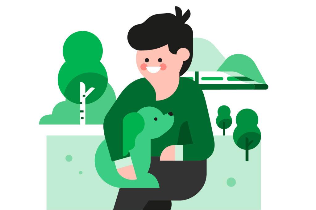 Piirretty kuvituskuva: mies ja koira