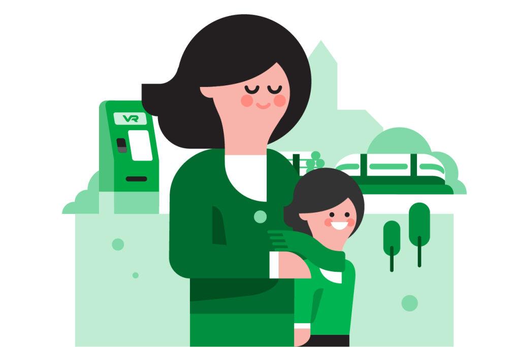Piirretty kuvituskuva: nainen ja lapsi