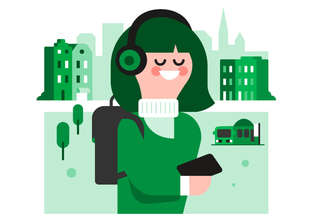 Piirretty kuvituskuva: nainen kaupunkiympäristössä