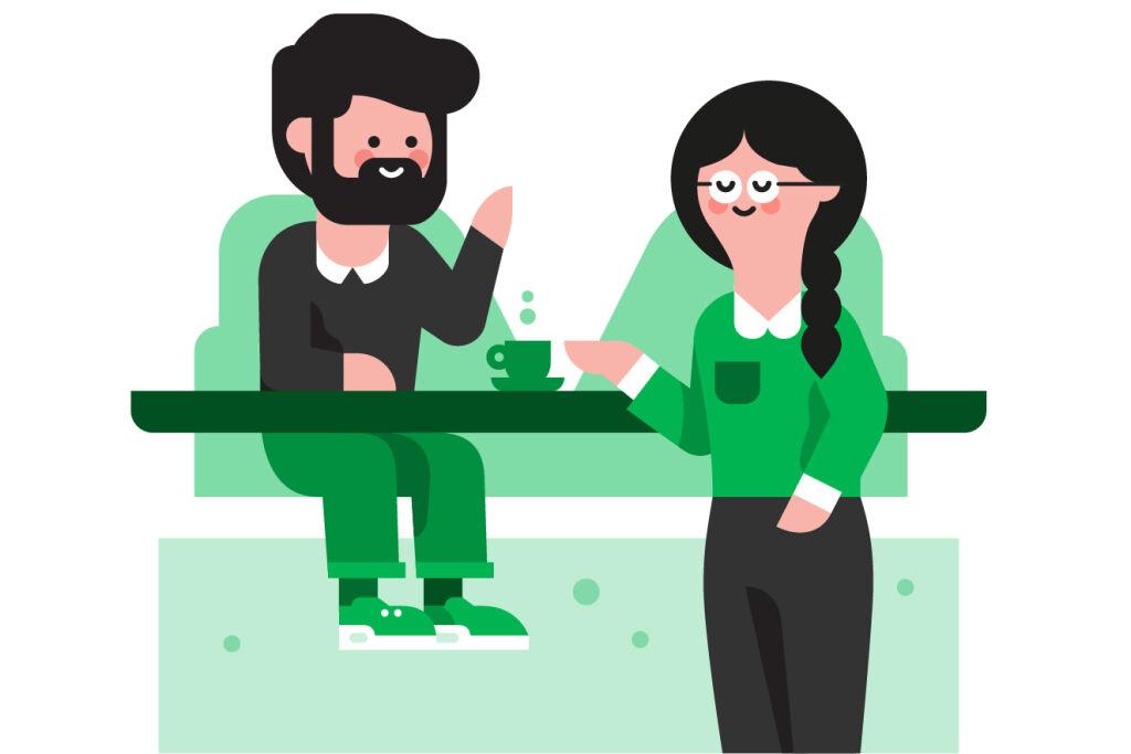 Piirretty kuvituskuva: mies ja nainen toimistossa