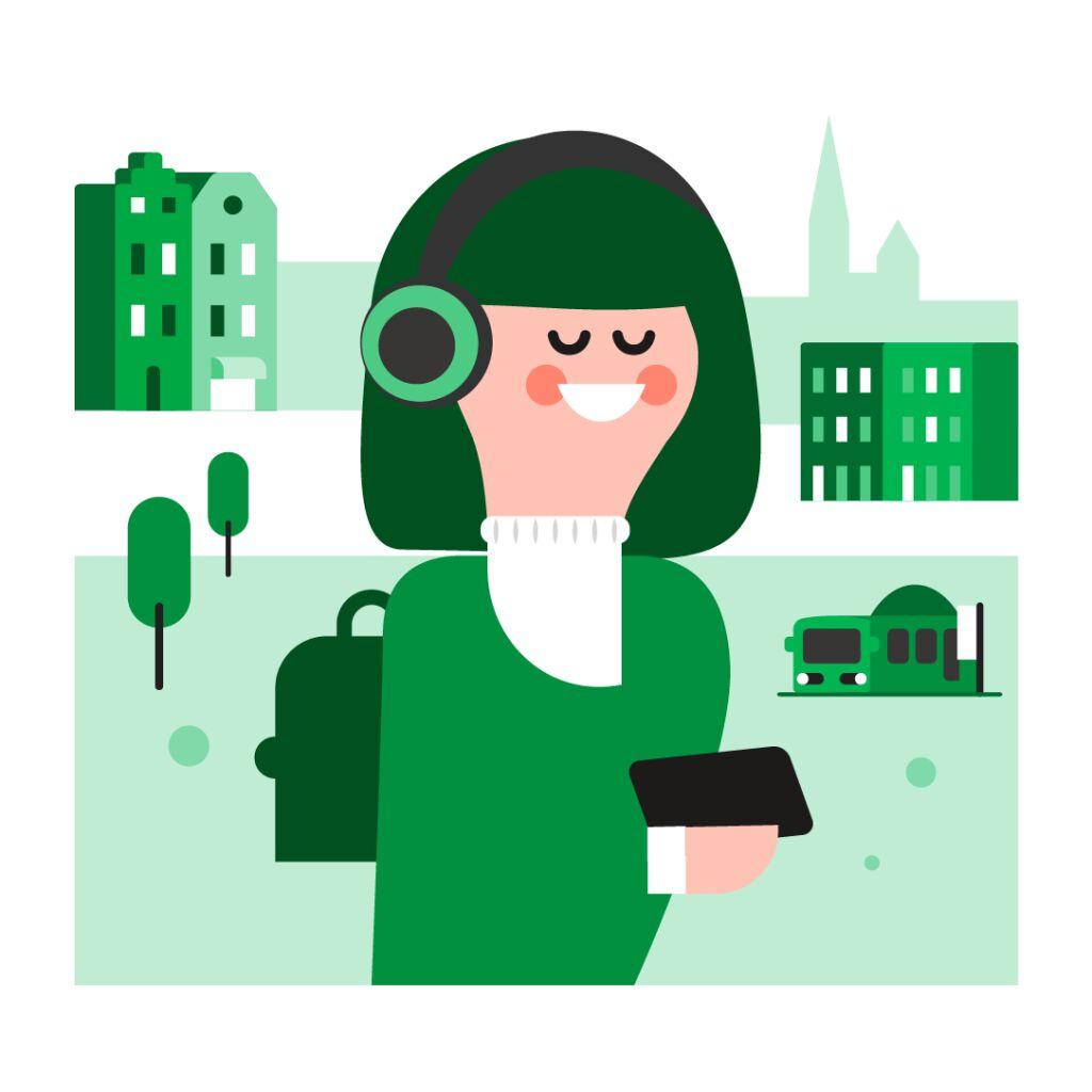 Kuvituskuva, nainen kaupunkiympäristössä